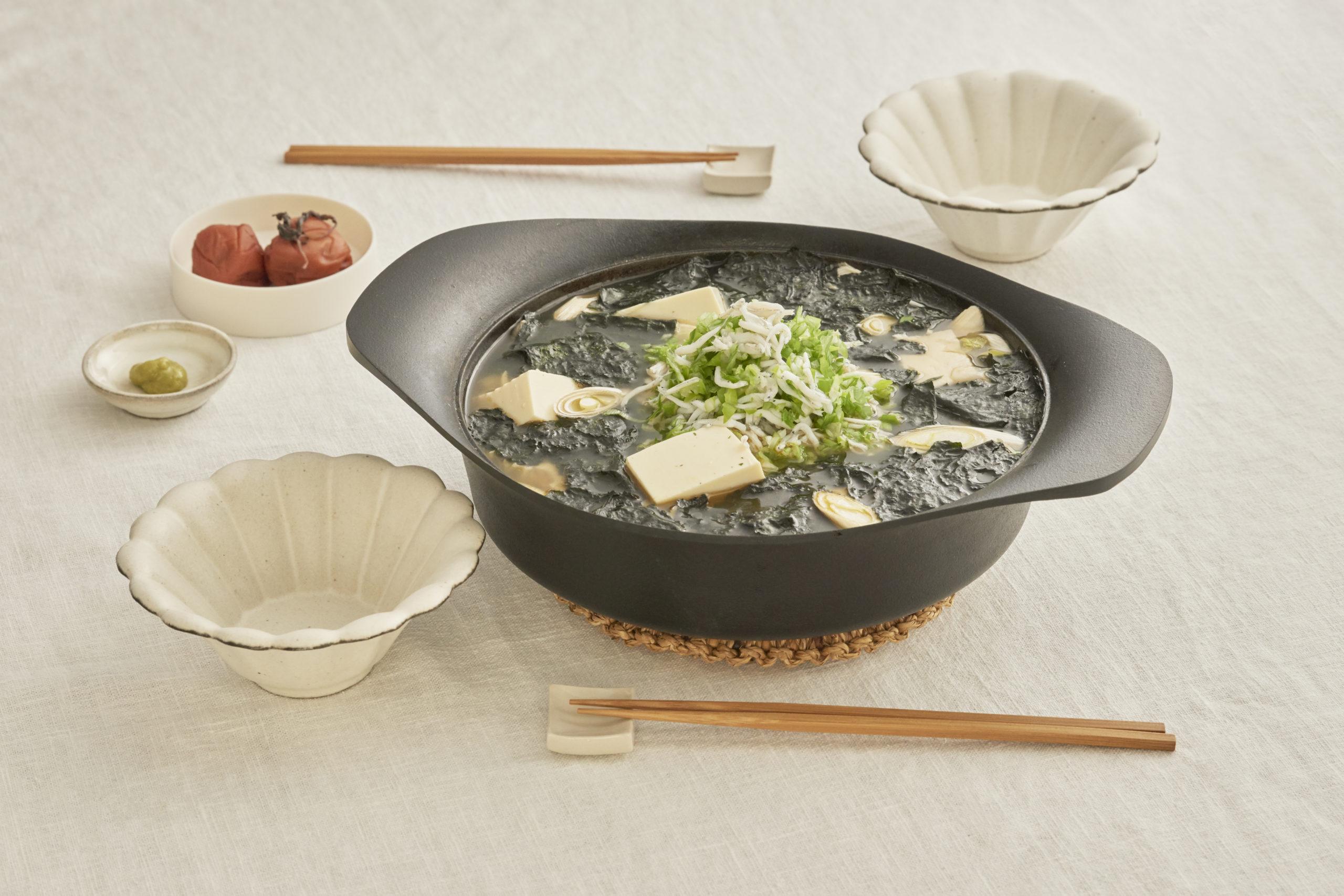 豆腐としらすの海苔鍋
